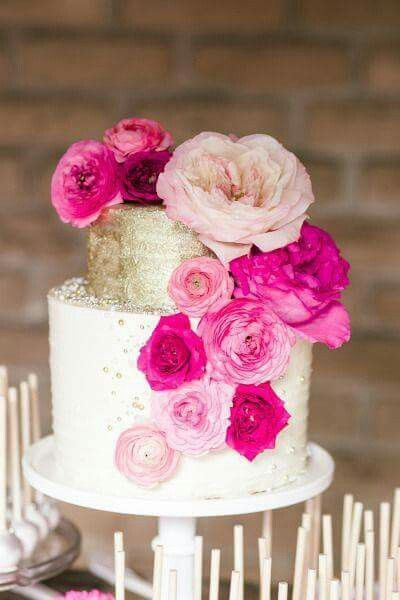 Floral pink and gold cake