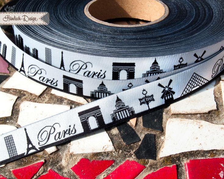 5m  Skyline von Paris Webband,  schwarz von Händisch-Design auf DaWanda.com