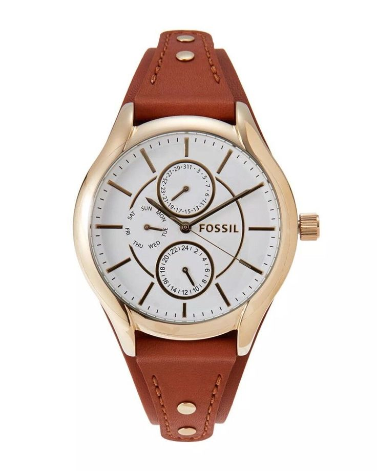 Fossil Chronograph White Dial Brown Leather Womens Watch BQ3064 SD