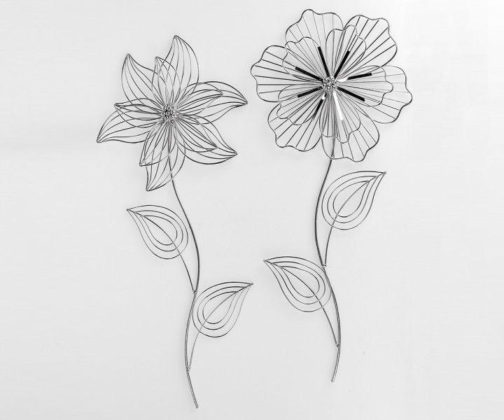 """wanddeko """"blume"""", 60 cm, silber, sortiert, Garten und bauen"""