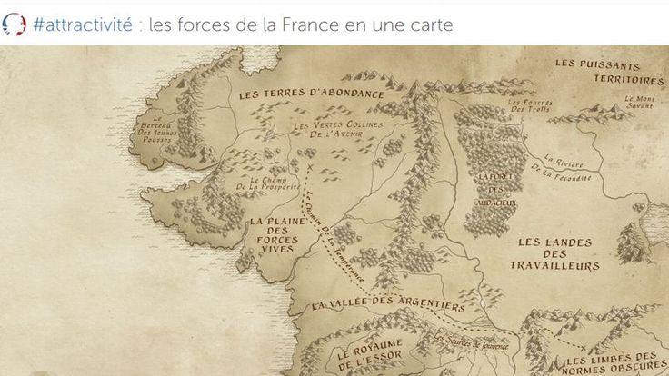 LE SCAN POLITIQUE - Le service de communication de l'exécutif publie une carte de la «Terre du Milieu» pour mettre en lumière le travail du gouvernement sur l'attractivité de la France.