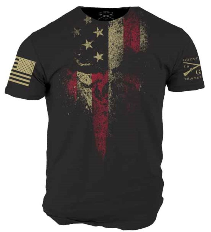 American Reaper black tee with the Grunt Style logo on the left sleeve and the American flag assaulting forwards on the right.    Details: Black shirt Ultra com