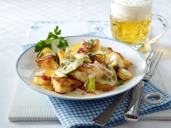 Pannfisch mit Bratkartoffeln und Senfsosse