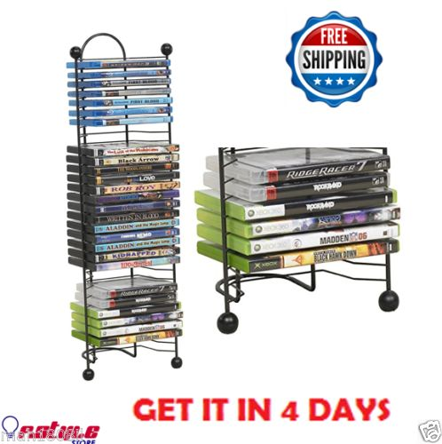 Premium-DVD-Storage-Tower-Stand-Organizer-Rack-CD-Shelf-Multi-Media-Atlantic-NEW