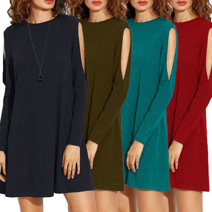 Womens Summer Casual Short Mini Dress Ladies Long Sleeve Loose Beach Party Dress
