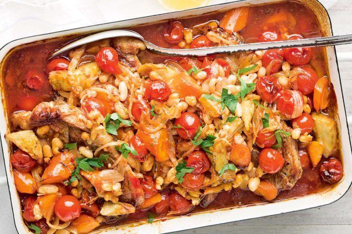 Lamb chop and artichoke casserole