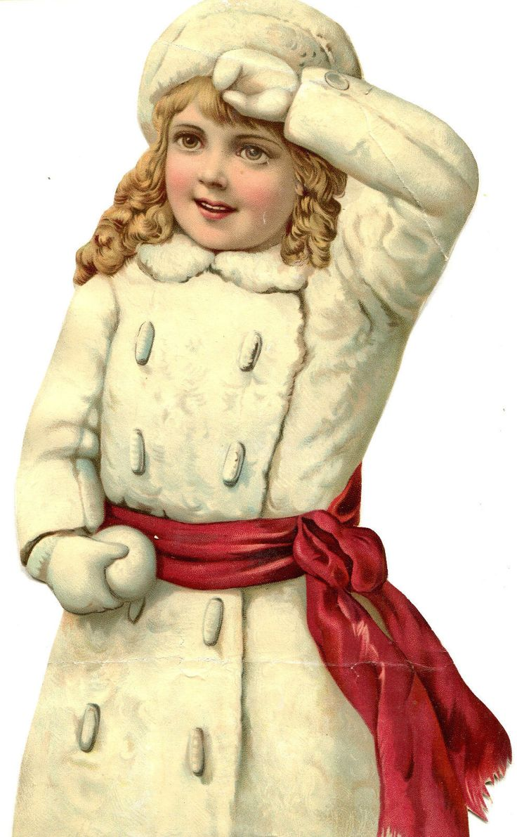 "Large SCRAP - Beautiful VICTORIAN GIRL - COLOR Chromo Winter Outfit - 13"" Tall picclick.com"