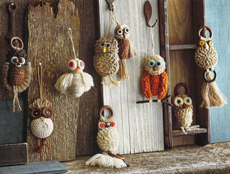 Roost Jute Owl Ornaments   Set Of 9