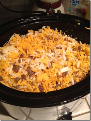 Crock Pot Breakfast Scramble: turkey burger instead of sausage and crescent rolls instead of hash browns possibly