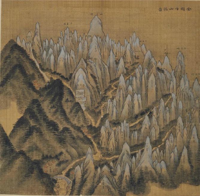 겸재 정선(Jung Sun 鄭敾) 金剛內山摠圖, 《辛卯年楓嶽圖帖》 General View of Inner Mt. Geumgangsan, One Leaf from Album of Mt. Geumgangsan,1711