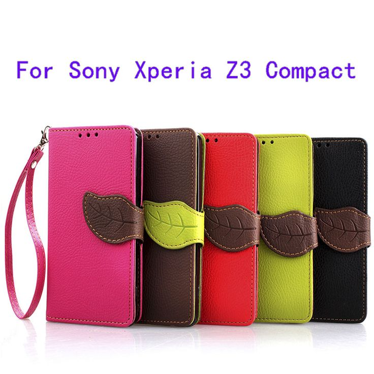 For Sony Xperia Z3 Compact Wallet Case Leaf Style Protective Cover  TPU Soft Insider Flip Case With Card Holder