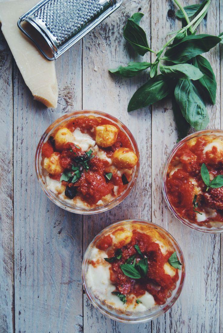 Gratin de gnocchi, sauce tomate et mozzarella