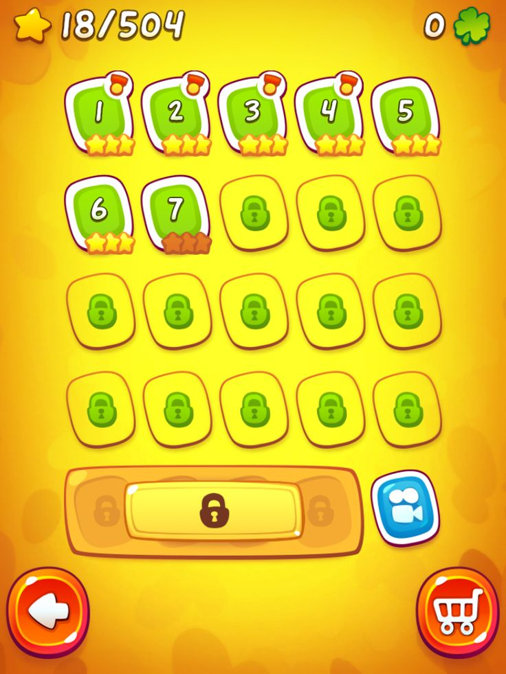 CUT the ROPE 2 | Level Selection | UI, HUD, User Interface, Game Art, GUI, iOS, Apps, Games, Grahic Desgin, Puzzle Game, Brain Games, Zeptolab | www.girlvsgui.com