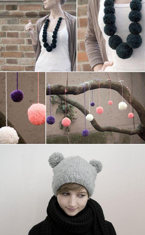 Pom Pom Necklace- great craft for girls! Thanks to @Trash Alou Alou Pop!