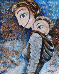 Deep As A River - mother and baby blue hike print by Katie m. Berggren
