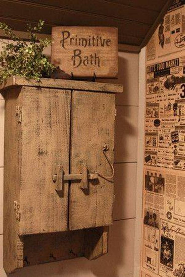 Bathroom , Country Primitive Bathroom Decor : Primitive Bathroom Decor With Old Primitive Medicine Cabinet With Towel Hooks