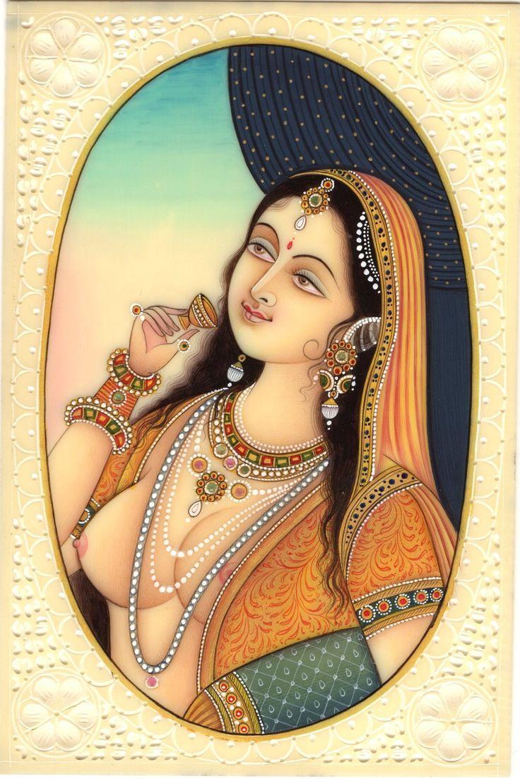 Indian Miniature Folk Painting Handmade Princess Portrait Watercolor Ethnic Art