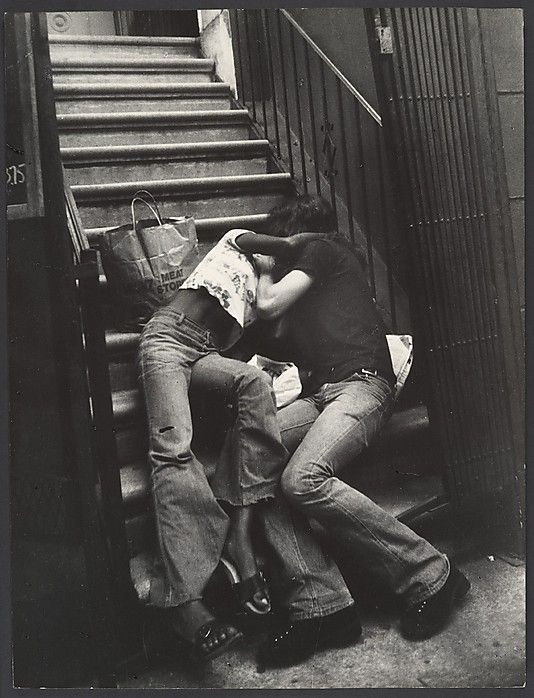 1970 Street Scene: Couple Kissing on Building Steps, New York City  Leon Levinstein