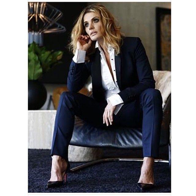 Danielle Cormack - navy suit