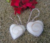 Silver Cats Eyes Heart Earrings