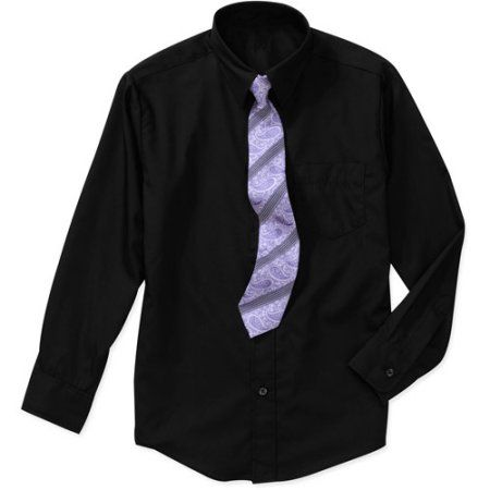 George Boys Packaged Dress Shirt and Tie Set, Black