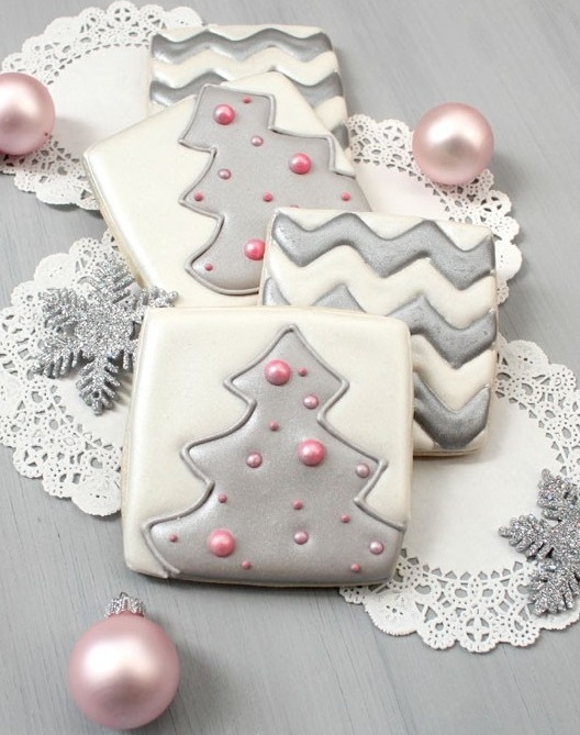 silver and pink holiday cookies