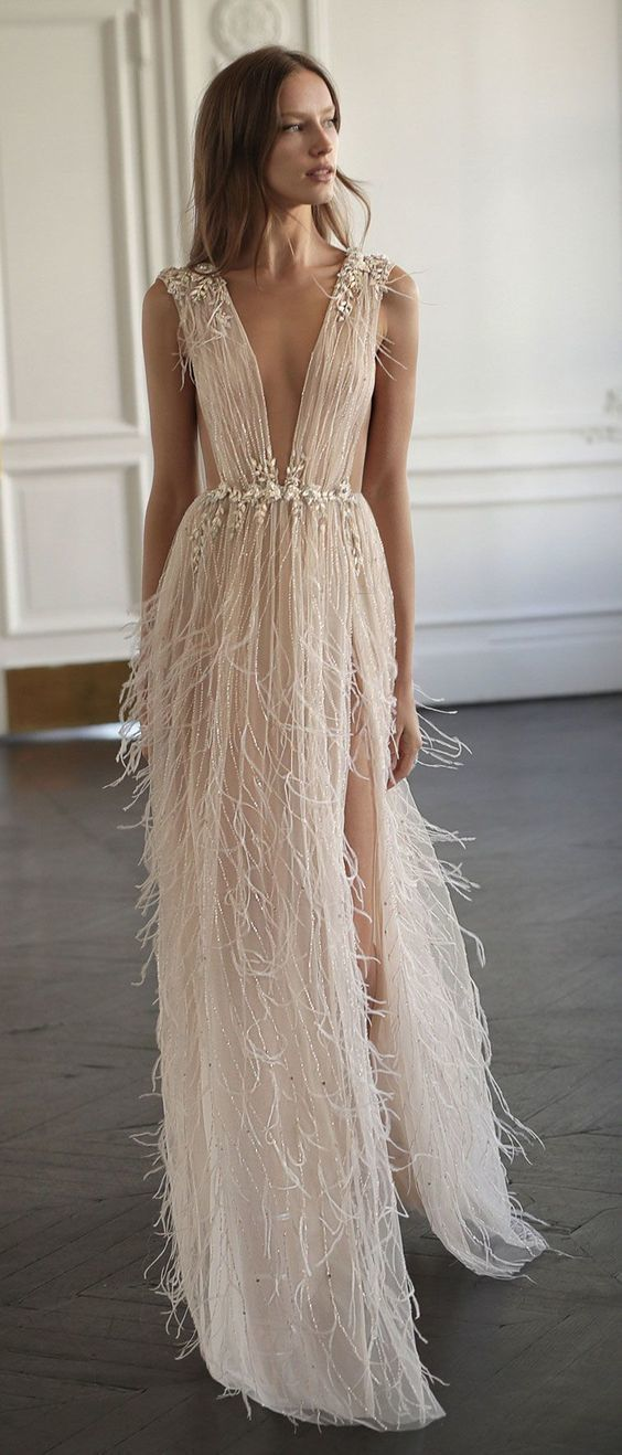 Sexy V Neck See Through Tulle Prom Dresses Beading Evening Dress