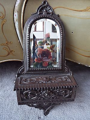 Antique English Cast Metal Shaving Or Butler S Mirror With