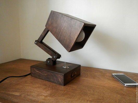 Освещение ручной работы. Ярмарка Мастеров - ручная работа. Купить Настольная лампа из дерева. Handmade. Коричневый, лампа настольная