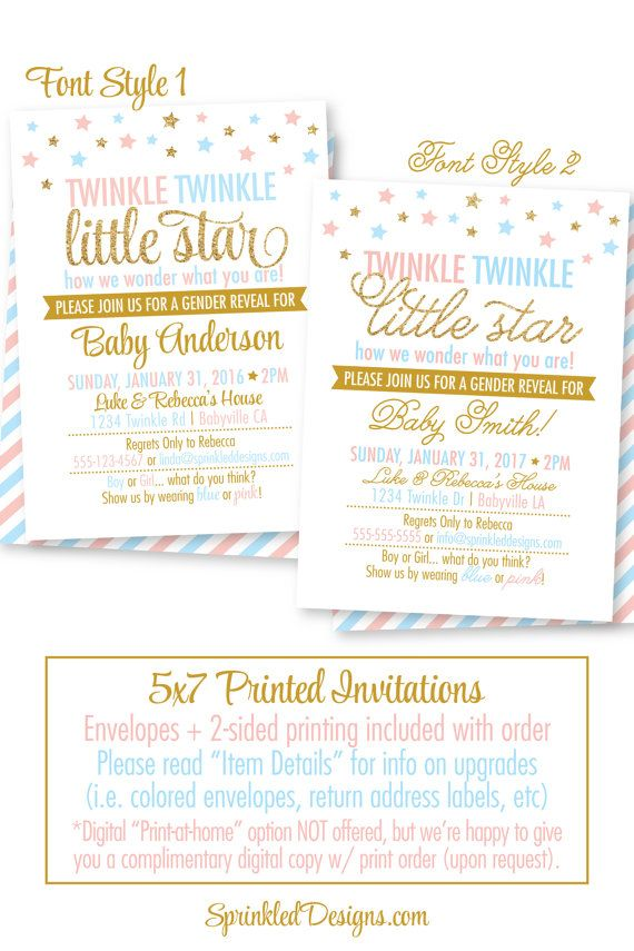 455 best images about twinkle little star gender reveal or baby, Baby shower invitations