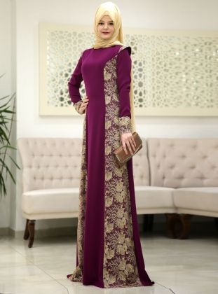 Burc Evening Dress - Plum - SomFashion
