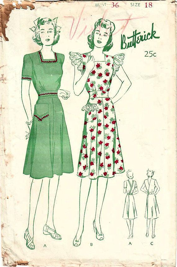 1940s Butterick 2576 Vintage Sewing Pattern Misses House