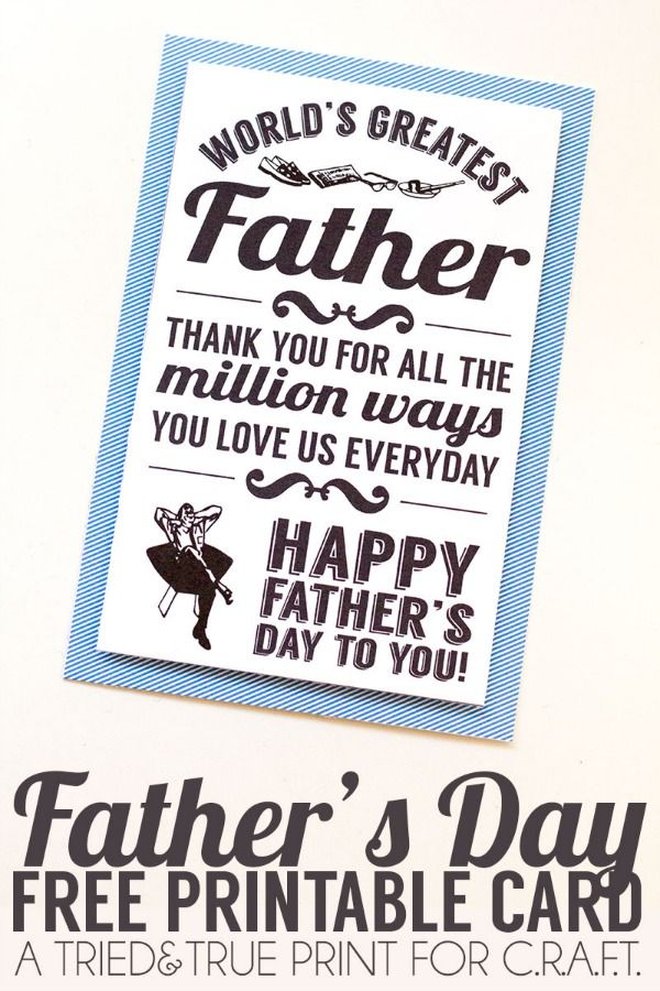Free, printable fathers day card!...