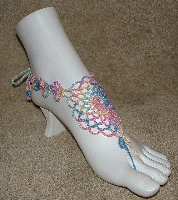 barefoot sandals crochet pattern free | Barefoot Sandals &/or Slave Bracelet Rings - Filagree Design in Pastel ...
