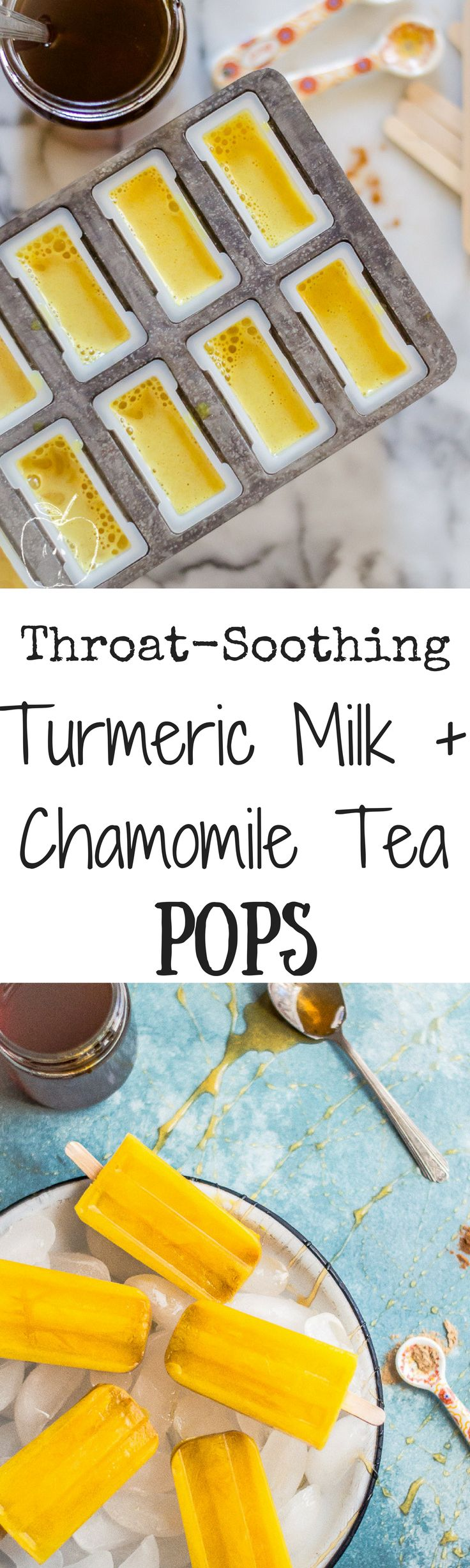 Throat-Soothing Turmeric Milk + Chamomile Tea Pops are the perfect medicine to make in your own kitchen for when a cold or scratchy throat has you or a little one feeling less than awesome! Paleo, dairy-free, gluten free