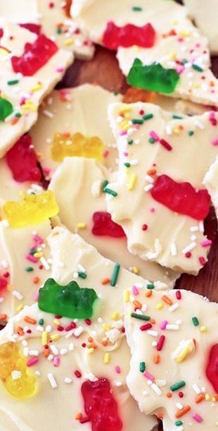 White Chocolate Gummi Bear Bark