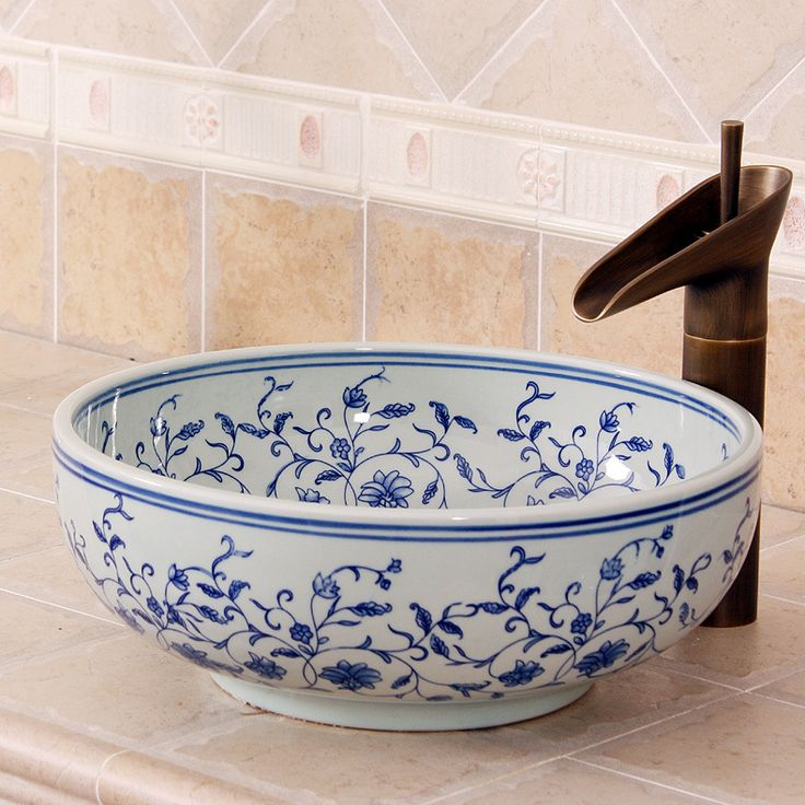 Find More Bathroom Sinks Information about Blue and white China rose painting Artistic Handmade Art wash basin Ceramic Counter Top Wash Basin Bathroom Sink wash basin mini,High Quality basin ceramic,China bathroom sink Suppliers, Cheap art wash basin from China Art Bathroom Sinks on Aliexpress.com