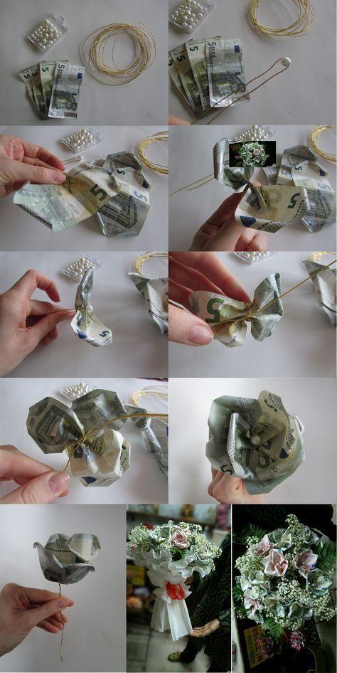 Ramo de flores con billetes (Blumenstrauß mit Not…