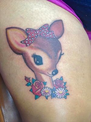 "My new ""Deer"" tattoo, I named her Dottie, she is an adorable vintage deer. I love her. Thanks to Renee Johns Tattoo Artist from Tried & True Tattoo in Smyrna TN.  Thigh Tattoo."