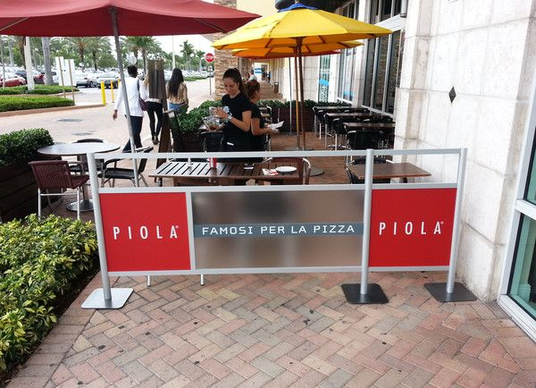 Piola Pizza, Sidewalk Cafe Barriers, Outdoor Restaurant Barriers