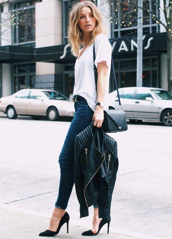 look street style calça jeans camiseta branca jaqueta preta