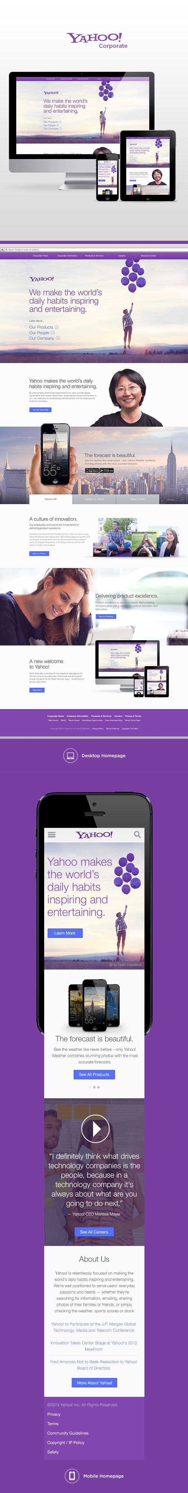 Yahoo! Corporate Redesign by Justin Freiler, via Behance