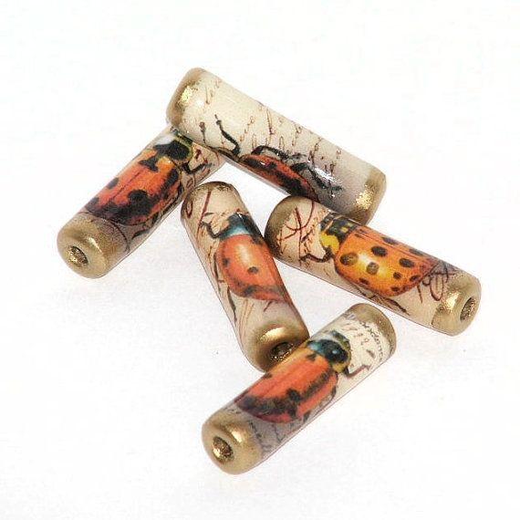 Perle di carta Vintage Coccinelle di GillianMcMurray su Etsy