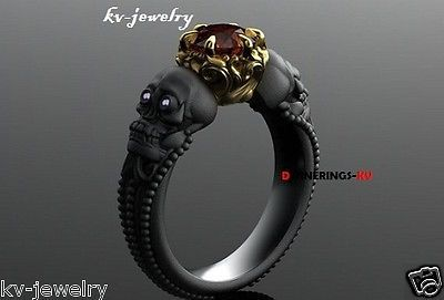RICH-925KT-BLACK-SILVER-GOLD-COLOR-SKULL-FACE-ENGAGEMENT-RING-BAND-VAPOR-PIRATES