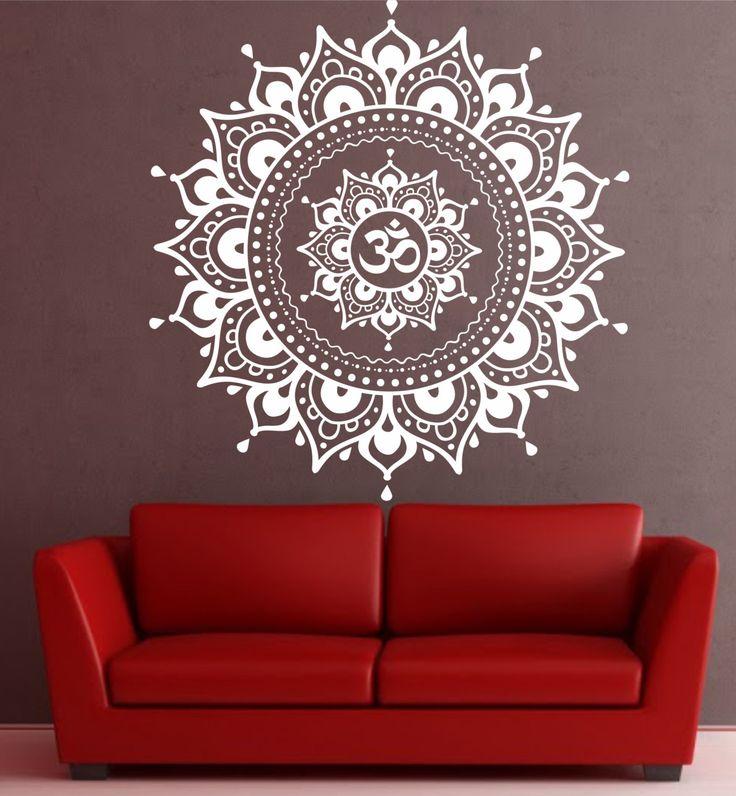 Mandala etiqueta de la pared etiqueta Yoga Om por VandyVinyl
