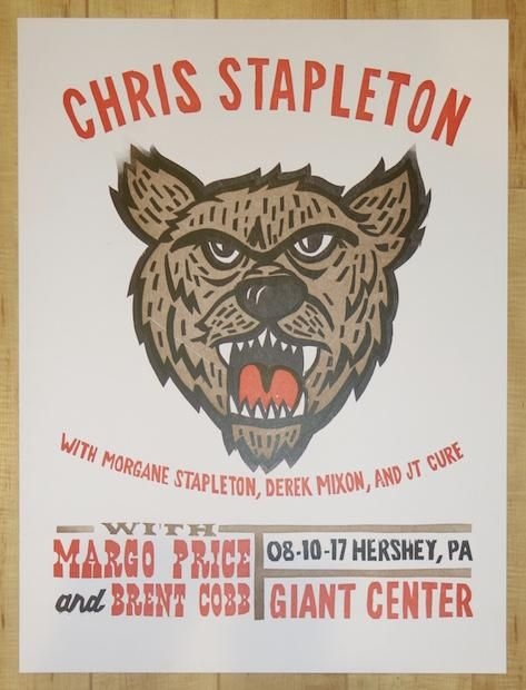 2017 Chris Stapleton - Hershey Letterpress Concert Poster by Carl Carbonell