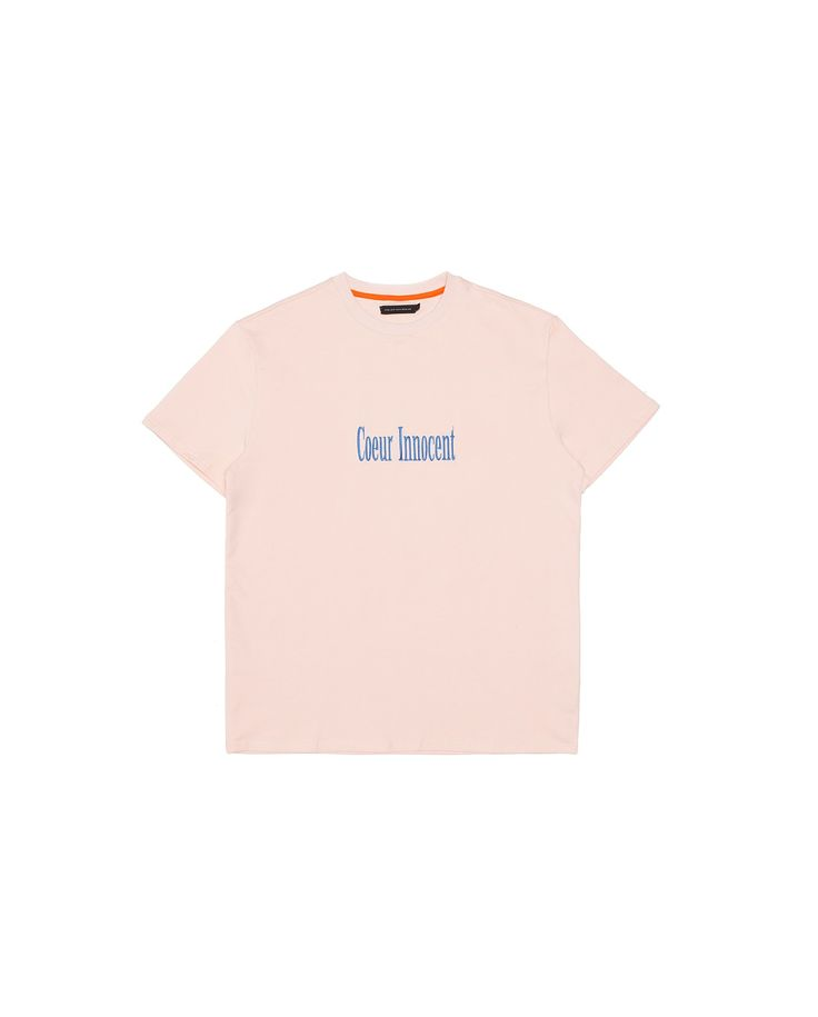 "Made of a lightweight french terry, this short sleeve t-shirt features ""Coeur Innocent"" slogan embroidery in light blue across chest."