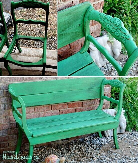 Garden bench made from two old chairs and a little lumber.