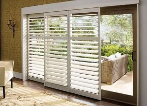 sliding transitional plantation shutters for sliders douglas. Love this as a non-consuming, pragmatic & stunning means of sliding door addition!