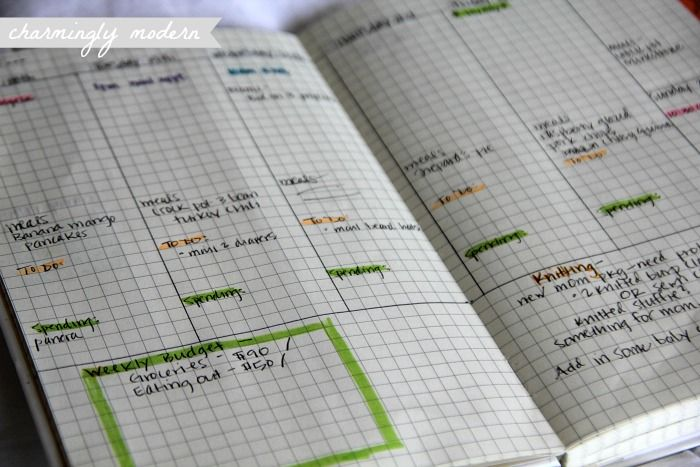 Like the way she created her own notebook - especially the layout of the weekly page